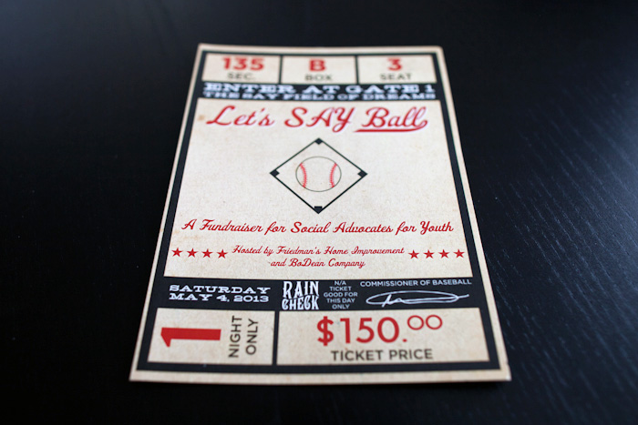 Invitation for a Baseball Themed Event